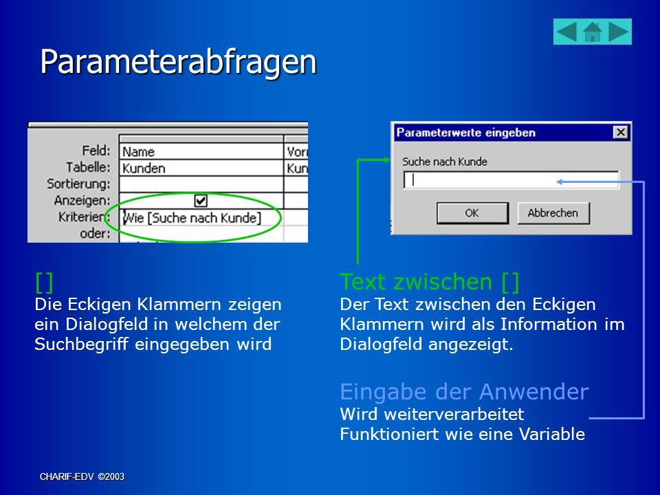 Parameterabfragen [] Text zwischen [] Eingabe der Anwender